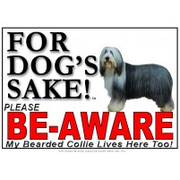 Bearded Collie BE-AWARE Dog Safety Sgn 1