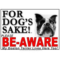 Boston Terrier BE-AWARE Dog Safety Sgn 1