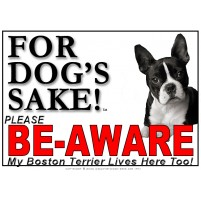 Boston Terrier BE-AWARE Dog Safety Sgn 2