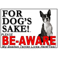 Boston Terrier BE-AWARE Dog Safety Sgn 3